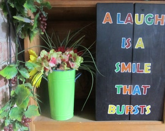 A Laugh is a Smile That Bursts/wood Wall Art/Primary/Sign/Block Letter/Happy/Kid/School/Patio/Playroom/Gift