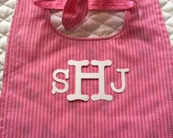 FREE SHIP!  Girl Bib & Headband Set - Baby Bib Reversible - Snap Closure Bib - Matching Baby Headband - Monogrammed Bib - Shower Gift - Baby