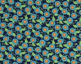 SALE Fabric - Amy Butler - Lark Dreamer Button Flowers - Navy - Cotton fabric by the yard (last 2 yds)