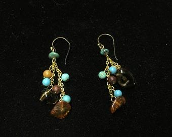 Vintage Dangle Pierced Earings, Turquoise Like Stone, Beads, Goldtone