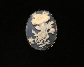 Vintage Brooch, Goldtone, Blue Background, Floral