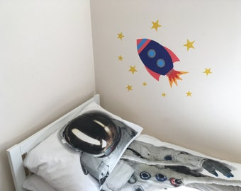 Rocket wall sticker, Rocket decal, Rocket wall art,  Rocket nursery decoration, Rocket kids decor, Space wall sticker,  Space decal, rocket