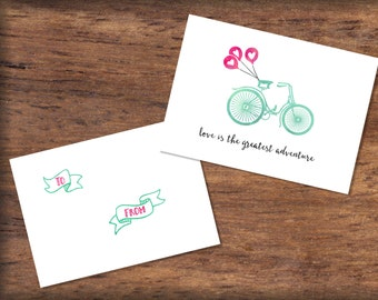 Printable Bicycle Valentine's Day Card- INSTANT DOWNLOAD- Bike & Heart Balloons Valentine Print