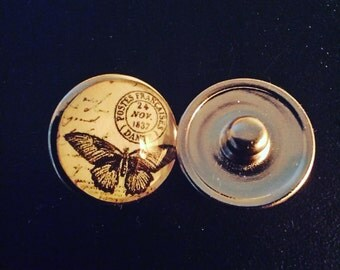 """2 cabochons for snaps """"Butterfly"""""""