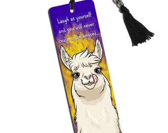 Llama Sticking Out Tongue Printed Bookmark with Tassel