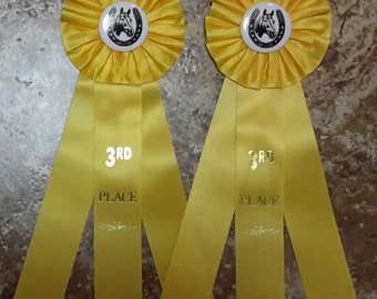 Vintage 1990s Yellow Rosette Horse Show Ribbon