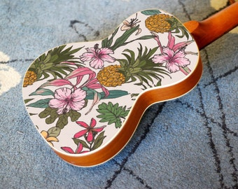 Ukulele decal of vintage flower and pineapple Hawaiian design. Uke On!!