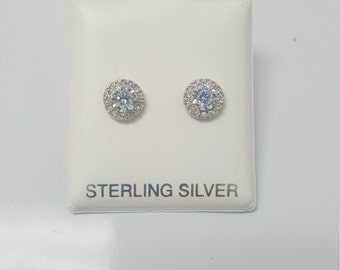 Round CZ Earrings Platinum Plated With Halo