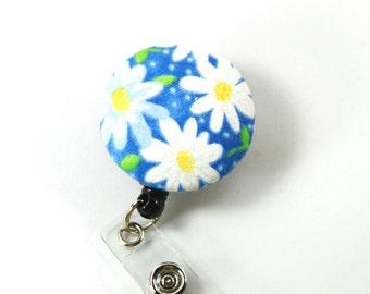 FLOWERS Fabric badge Reel, Retractable badge reel, White flower badge holder, Daisy Button badge
