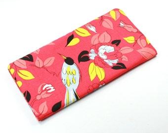 BIRDS Fabric Case, Sunglasses Case, Fabric Eyeglasses Case, Red Fabric Case, Bird Fabric Snap-on Case