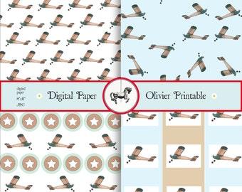 Airplane Digital Paper // Instant Download // DIY // Scrapbook // Craft //Kids //Invitations//Party Decoration//Deco