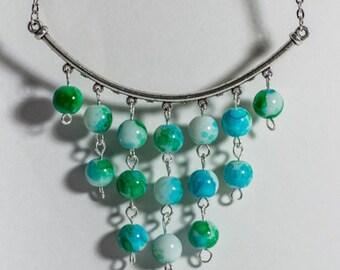 Blue/Green Glass Bead Necklace Earring Set
