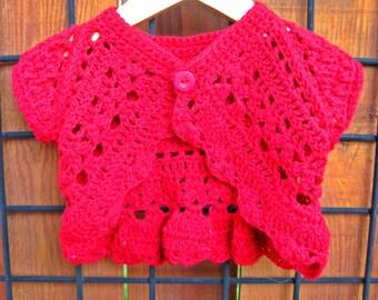 Hand crocheted girl's Shrug- size 2, cotton /linen yarn