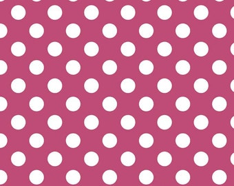 Raspberry Polka Dot Quilting Cotton - Hot Pink Fabric - Medium Dot Pink Fabric - c360 91 Riley Blake Designs Basics - Quilt Cotton