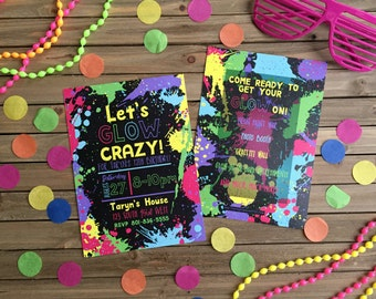 Neon Party Invitation - Glow-in-the-Dark Party
