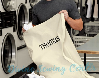 Monogrammed Laundry Bag- Personalized Clothes Laundry Bag- Graduation Gift- Drawstring Bag- Personalized Gift- Dorm Bag. Laundry-002