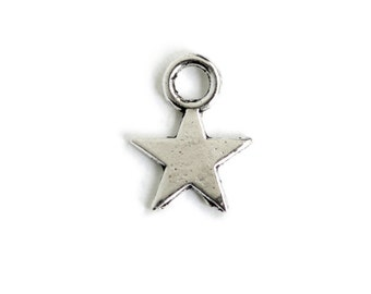 Tiny Star Charm.  Silver Star Charm. Add On Charm for Bracelet Charm or Necklace Charm. Silver Plated Charm. 11mm x 8 mm