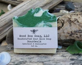 Spearmint Eucalyptus Soap. Soap, Spearmint Soap. Eucalyptus Soap. Bar Soap. Handmade Soap. Goat Milk Soap.