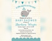 Whale Baby Shower Invitations, Whale Baby Shower invitaitons, Blue Whale shower party, Blue whale Invitation, Elegant Baby shower invitation