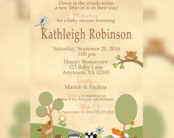 Woodland Party Invitation - Woodland for Baby Shower Invitation - Woodland Creatures Invitation - Forest Baby Shower - Woodland Baby Shower