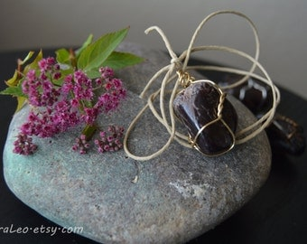 Garnet Pendant Necklace | Wire-wrapped | Gold Bronze Silver