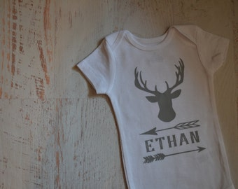 Newborn Baby Boy Name Personalized Deer Buck Stag Arrows Antler Hunting Deer Bodysuit