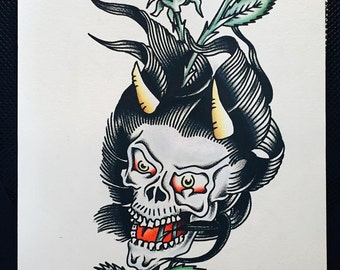 "Demon Skull & Rose Tattoo Flash Painting - 12"" x 16"" Watercolor Painting Original"