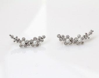 Diamond Climber Earrings, White Gold Earrings, Diamond & Pearl Earrings, Cluster Earrings, Diamond Earrings, Unique Wedding Gift