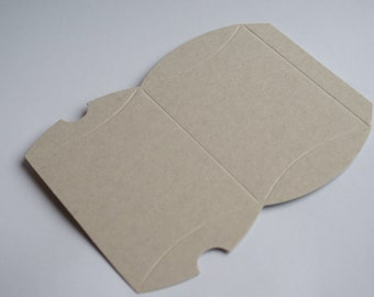 Small cream wedding favour presentation pillow box made from recycled cardboard