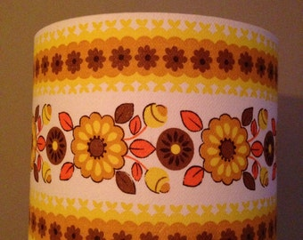Vintage Retro Drum Lampshade Lampshade Yellow 1950s 1960s Floral
