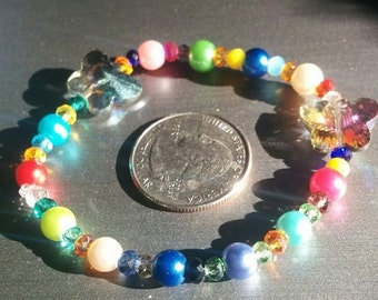 Multi-Color Plastic Bracelet with butterflies