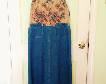 Denim Vintage Overall Dress w/ Tapestry