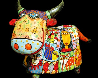 Сeramic figurine of a bull, ceramic bull, colorful cow, statuette of a cow, cow figurine, bull figurine, statuette bull, sculpture of a bull