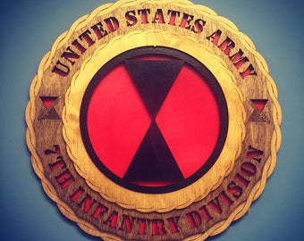 "Custom 12"" Wood US Army 7th Infantry Division Wall Tribute - FREE SHIPPING"