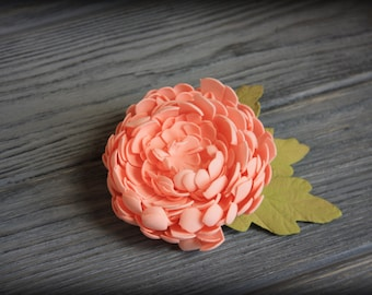 Hair clip and brooch with pink chrysanthemum