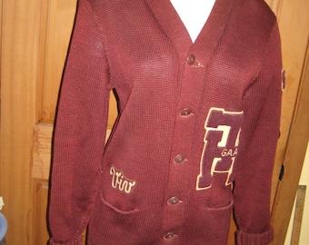 1950 Letter Sweater. My Mom's. Wool. Maroon and White. Viv on pocket, 50 on sleeve. TH GAA.Reasonable vintage well worn shape. Few Repairs.