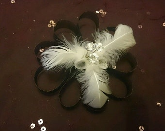 Handmade Black Fascinator with White Feathers