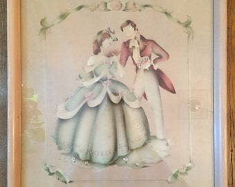 Vintage 1940's Romantic Victorian Couple Beautytone Airbrushed Artwork by Alfred and Cecelia Terone
