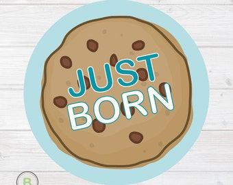 Newborn Monthly Baby Sticker for Baby Boy - Just Born - Cookies Design by Baby Lookback
