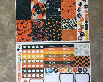 Traditional Halloween Mini Weekly Set ECLP Horz and Vert Planner Stickers - Full Week ECLP Mambi Inkwell Press Filofax Kikki K Happy