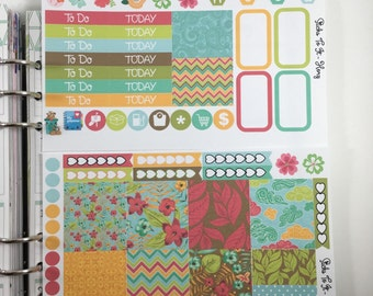Summer Botanical Mini Weekly Set ECLP Horz & Vert Planner Stickers Full Week Set Floral ECLP Mambi Inkwell Press Filofax KikkiK Happy