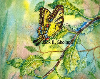 Tiger Swallowtail Butterfly Watercolor Scenery Notecard