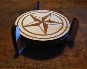 Texas star coasters, wood coasters, wooden coasters, Texas star, star of Texas, set of 4, gift