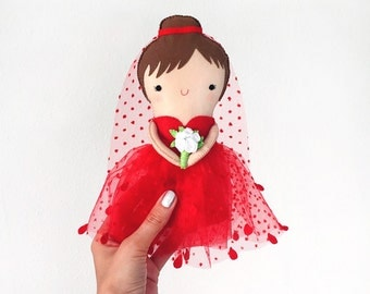 Cute Lady in red, Little toy, Felt Doll, Gift