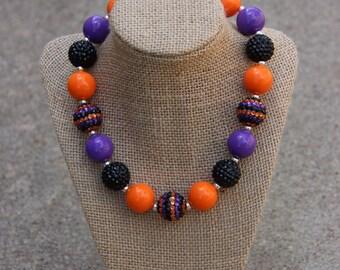 Halloween Orange and Purple Solid Bubblegum Necklace