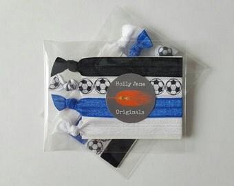 No-Fray Hair Ties, elastic FOE hairties, no crease hair ties, set of 4 hair elastics, stocking stuffer, (Soccer ball, blue, white and black)