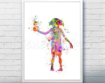 Harry Potter Dobby House Elf Watercolor Art Poster Print - Wall Decor - Watercolor Painting - Watercolor Art - Kids Decor- Nursery Decor