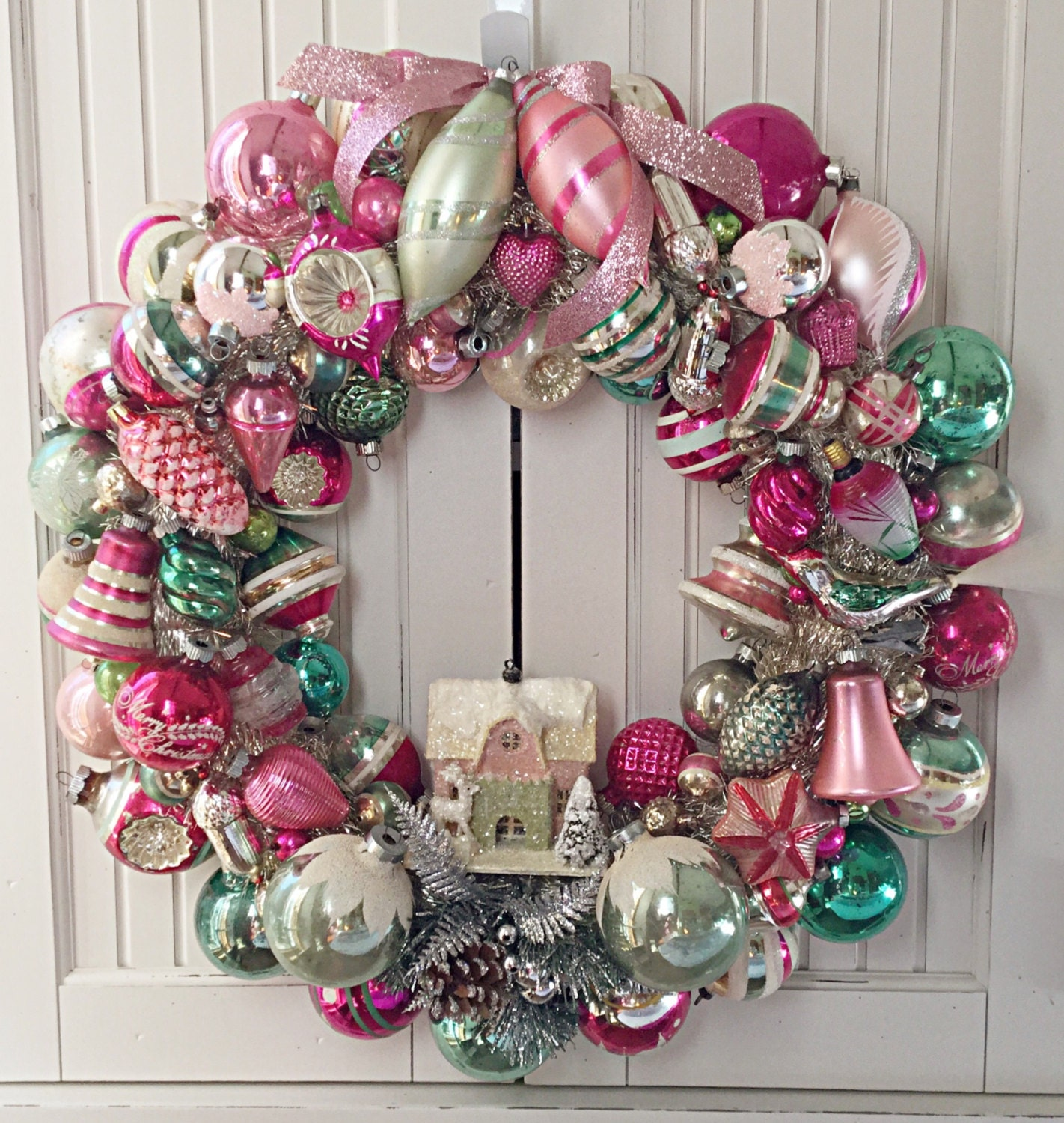 Sample large pink green vintage christmas ornament wreath for Christmas decoration stuff