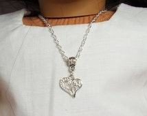 "18"" Girl Doll Filigree Heart Necklace, -American Doll  One Size Metal Necklace, Alligator Clasp"