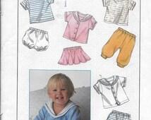 Infant Children's Pattern Unisex Pants, Panties, Skirt, Shorts, Short Sleeve Top- Simplicity 8994  - Dated 1989 -Sizes 6 month